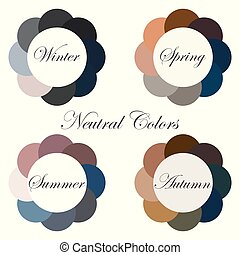 Seasonal color analysis. Set of palettes with neutral colors for different types of female appearance