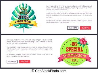Seasonal Discount Sale Labels Tropical Vector Web