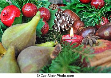 seasonal fruits and candle