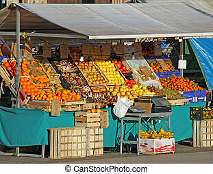 seasonal fruits and vegetables for sale in the fruit and vegetable stall at fruit market