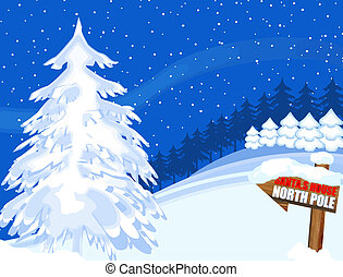 Seasonal greeting card with trees and north pole sign