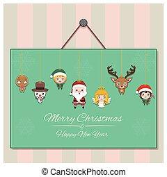 Seasonal greeting with a garland of Christmas characters