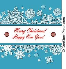 Seasonal greeting with paper snowfl