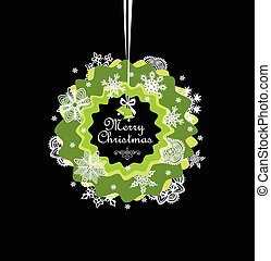 Seasonal greeting with paper xmas wreath