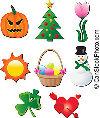seasonal holiday elements cartoon vector