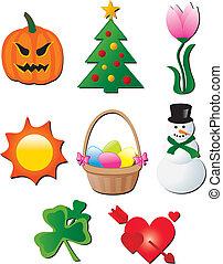 seasonal holiday elements cartoon vector