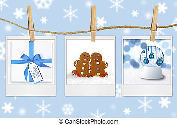 Seasonal Holiday Images Hanging From a Rope