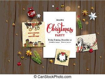 Seasonal holiday template - Holiday card with festive card...