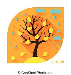 Seasonal illustration with autumn tree in flat style.