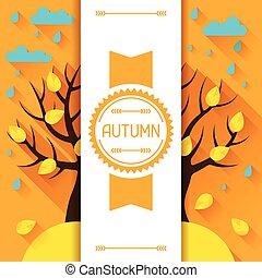 Seasonal illustration with autumn tree in flat style. -...
