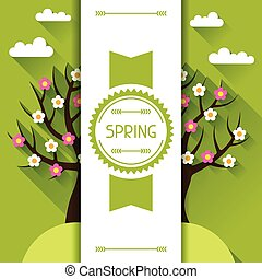 Seasonal illustration with spring tree in flat style.