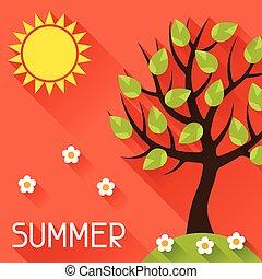 Seasonal illustration with summer tree in flat style.