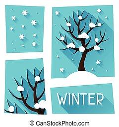 Seasonal illustration with winter tree in flat style.