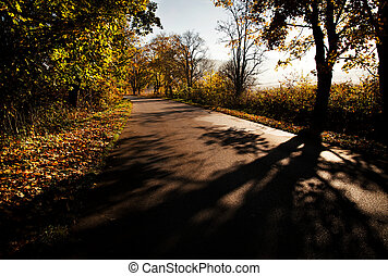 Autumn on the morning road - seasonal nature background ...