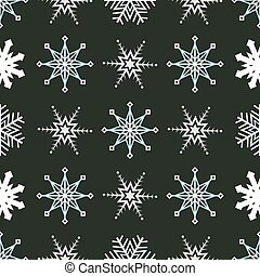 Seasonal pattern with various shapes of snowflakes