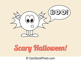 Seasonal poster - Scary Halloween with white ghost saying boo!