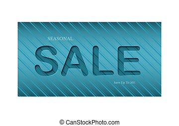 Seasonal Sale flyer template. Paper cut Sale word on striped aquamarine background.