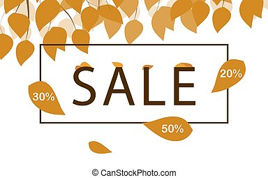 Seasonal sale template with dark yellow leaves