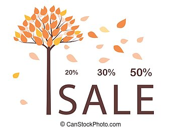 Seasonal sale template with tree and yellow leaves