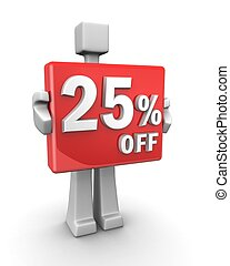 Seasonal sales 25 pecent off for shopping discount