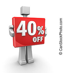 Seasonal sales 40 pecent off for shopping discount
