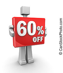 Seasonal sales 60 pecent off for shopping discount