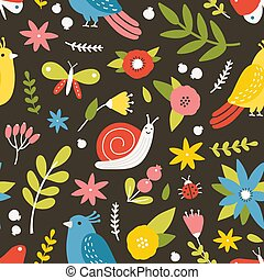 Seasonal seamless pattern with blooming meadow flowers, birds, snail, butterflies and ladybugs on dark background. Natural backdrop. Cute flat vector illustration for wrapping paper, textile print.