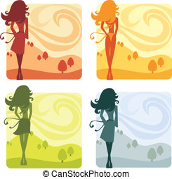 Seasonal Silhouettes - Stylized women silhouettes...