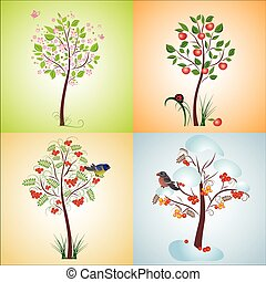 Seasonal tree, seamless illustratio