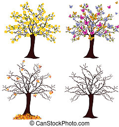 vector illustration of different trees - spring, summer, autumn, winter