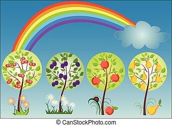 Seasonal tree with rainbow