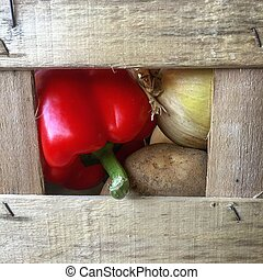 Seasonal vegetables in a wooden tray