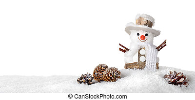 Seasonal white background with happy snowman