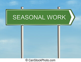 Seasonal work. Road sign on the sky background. Raster...