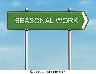 Seasonal work. Road sign on the sky background. Raster...