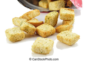 croutons - seasoned croutons with bag , close up