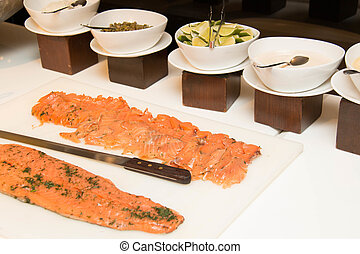 Seasoned pickled salmon slice and Side dish