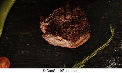 Seasoning Grilled Steak with Black Pepper