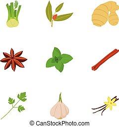 Seasoning icons set, cartoon style - Seasoning icons set....