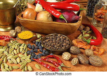 Seasoning - Spices and herbs selection. Aromatic ingredients...