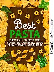 Seasonings herbs and Italian pasta - Italian pasta poster,...