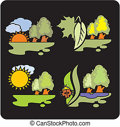 Seasons and weather- vector set.