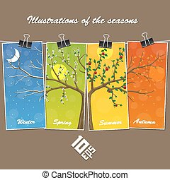 Seasons are suspended on clothespin. Vector Illustration