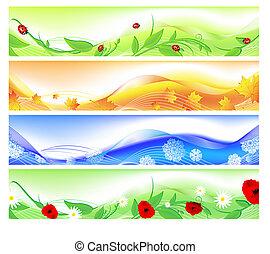 seasons, banners, web