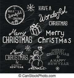 season's, begroetenen, kerstmis, tekens & borden
