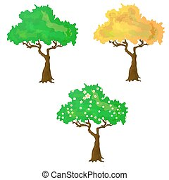 Seasons collection of vector trees