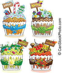 seasons cupcakes on a white background