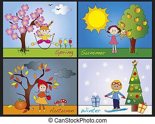 seasons - illustration of four seasons with children