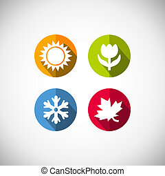 Four seasons icon symbol vector illustration. Weather
