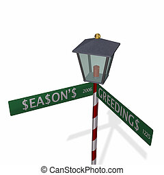 Season\\\'s Greedings Sign - Season\\\'s Greedings Street...